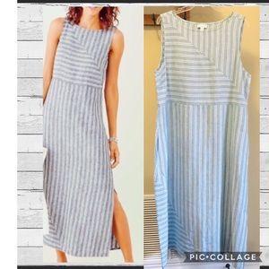 J. Jill Love Linen Blue & White Striped Maxi Dress